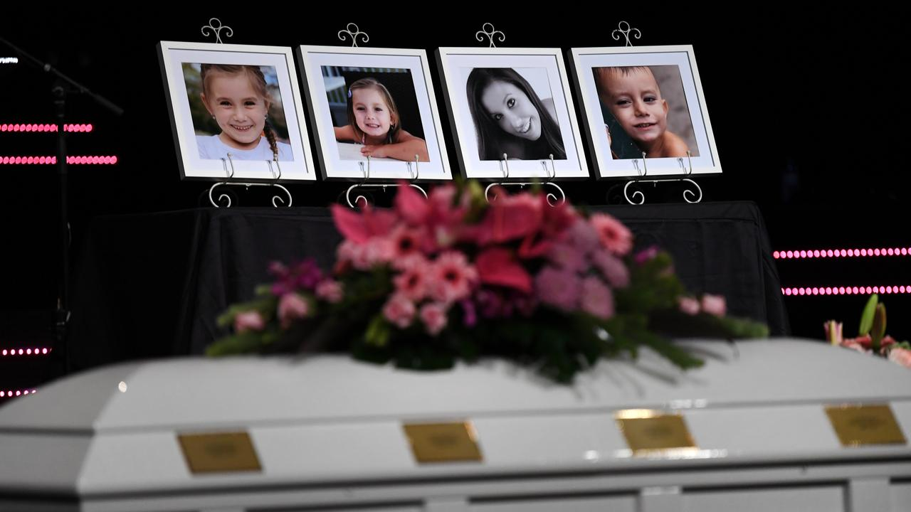 Framed photos of Hannah Clarke and her children Aaliyah, Laianah and Trey on display during their funeral in Brisbane. Picture: AAP