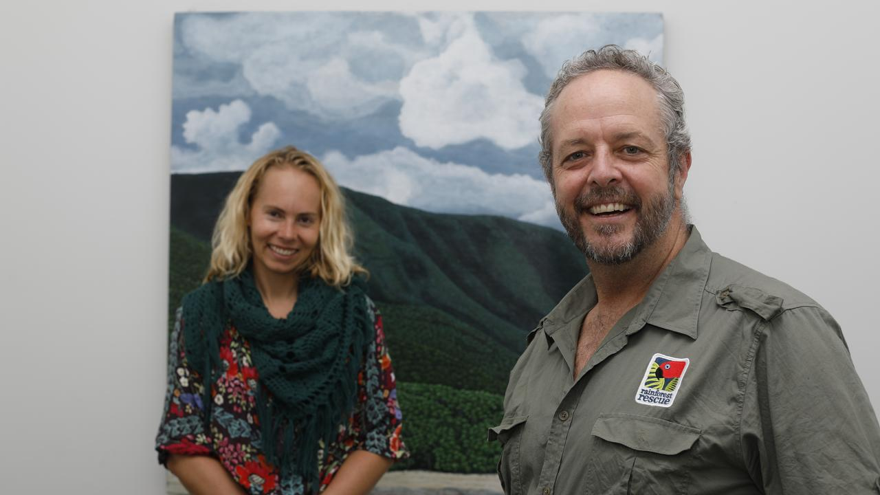 Santos Organics marketing manager Annina Helenelund and Rainforest Rescue CEO Branden Barber at the Rainforest Rescue base in Mullumbimby on Tuesday, May 19, 2020. The two organisations have partnered together to help protect the Daintree Rainforest.