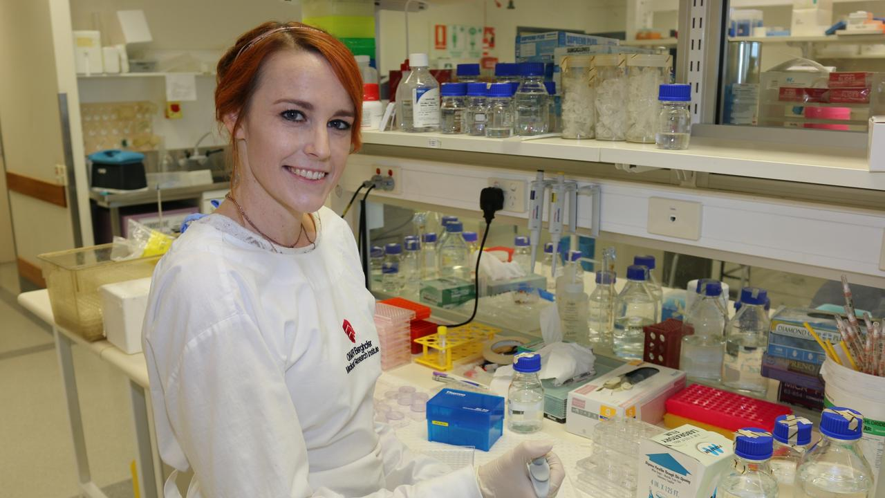 Scientist Dr Kelly Brooks, of the QIMR Berghofer Medical Research Institute, who was part of a study into uveal melanoma, a rare form of melanoma in the eye.