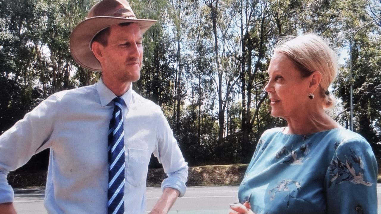 Main Roads Minister Mark Bailey and Noosa MP Sandy Bolton at a site inspection of Beackmans Rd earlier this year.