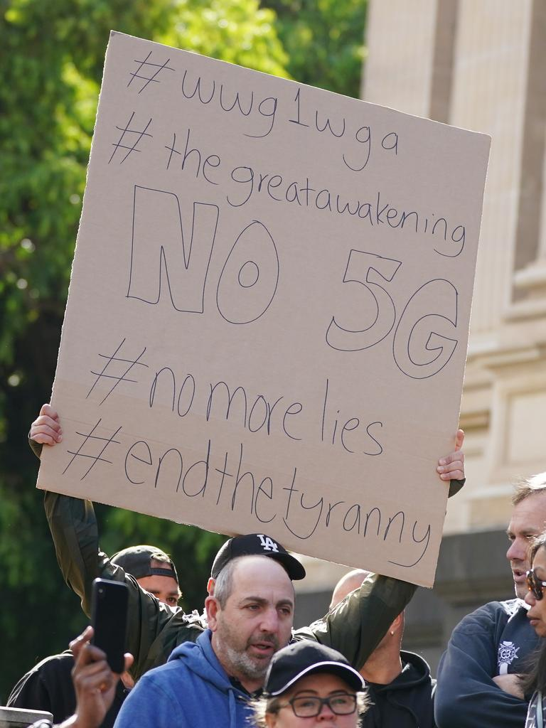 A sign addressing the 5G theory. Picture: Scott Barbour/AAP