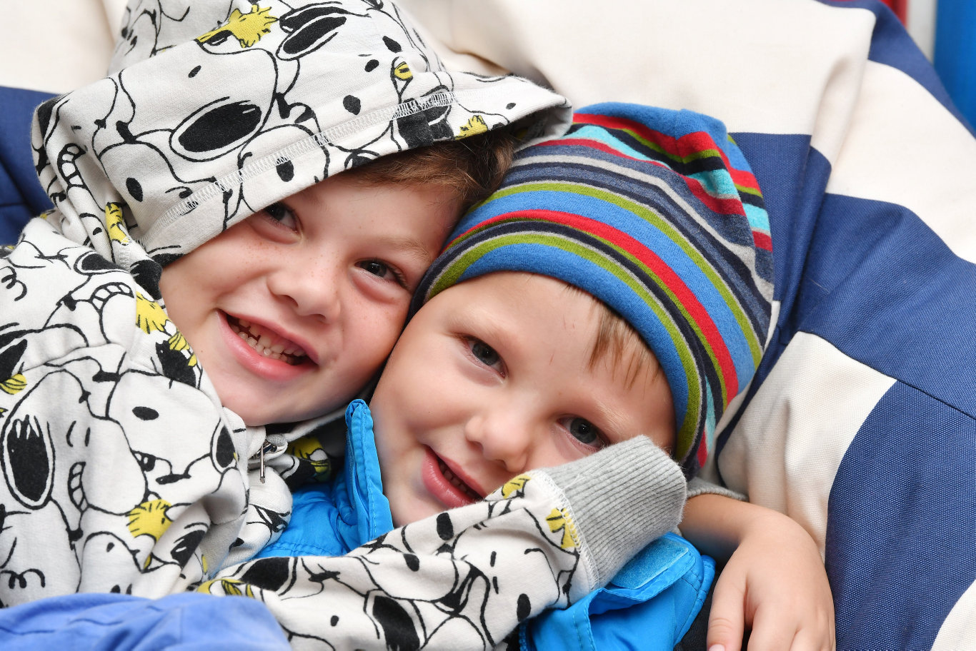 Zavier Rae, 5 and his younger brother Amais Rae, 3 are prepared for the cold weather. Picture: Tony Martin
