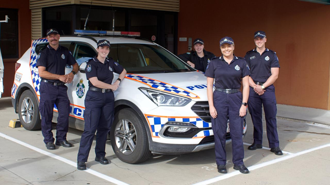 First year constables Leon Bradford, Jordan Bird, Kirsten Ezzy, Brooke Wacker and Joel Hyde are helping keep the Gladstone community safe. Picture: Sam Reynolds