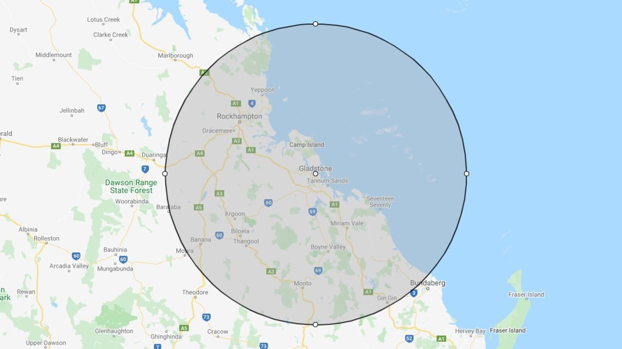 Map showing 150km radius around Gladstone Central.