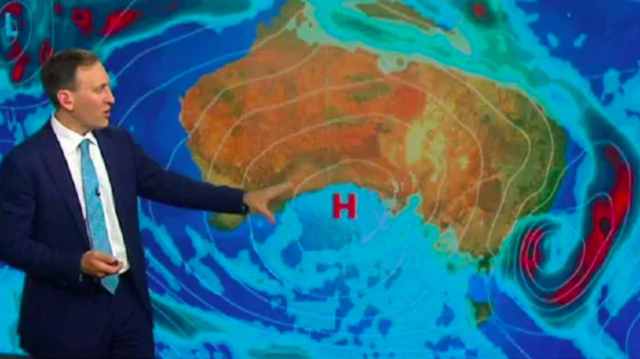 Sky News' chief meteorologist Tom Saunders shows a cloud band developing over northwest and eastern parts of Australia. Picture: Sky News