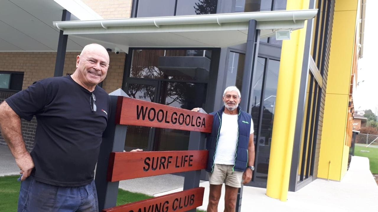 Woolgoolga Surf Life Saving Club president Les Pepper and Jim Philippidis from Solitary Designer Homes who has donated his time as project manager for the $4m build.