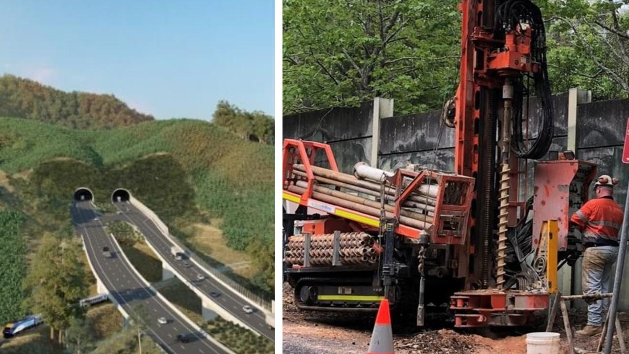 Drilling to test the hardness of rock in preparation for tunnels on the Coffs Harbour Bypass is underway.