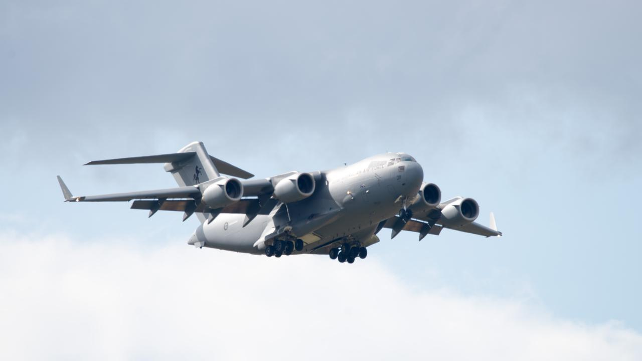 The Royal Australian Air Force C-17A Globemaster III aircraft snapped by Scott Harris at Rockhampton Airport on May 14, 2020