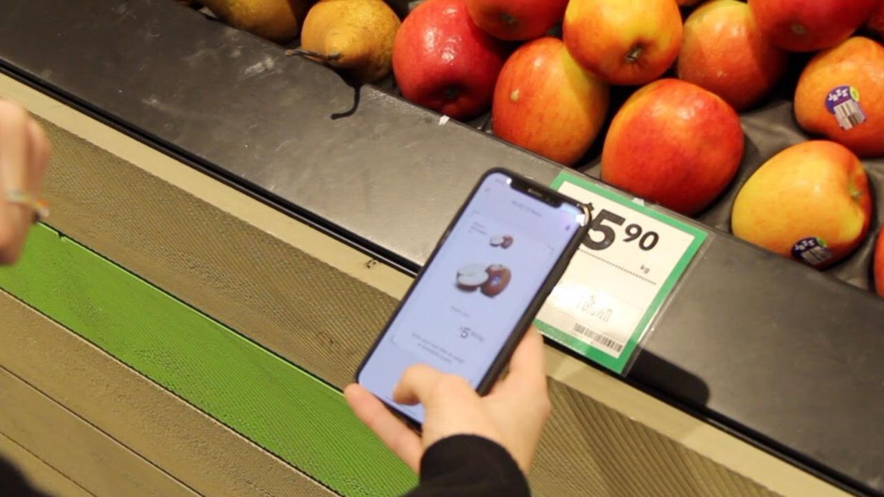 The app allows customers in stores trialling the feature to scan products with their smartphone while walking through the store and pay in the app before tapping off at a kiosk in the self-serve area.