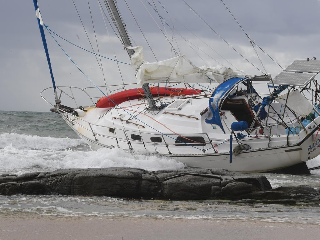 The Alcobri yacht washed up on the rocks at Mooloolaba.