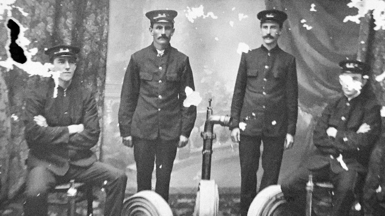 Trevor McTernan is asking readers to contact him if they know the names of the four Maryborough Fire Brigade officers in this historic photo taken about 1900.