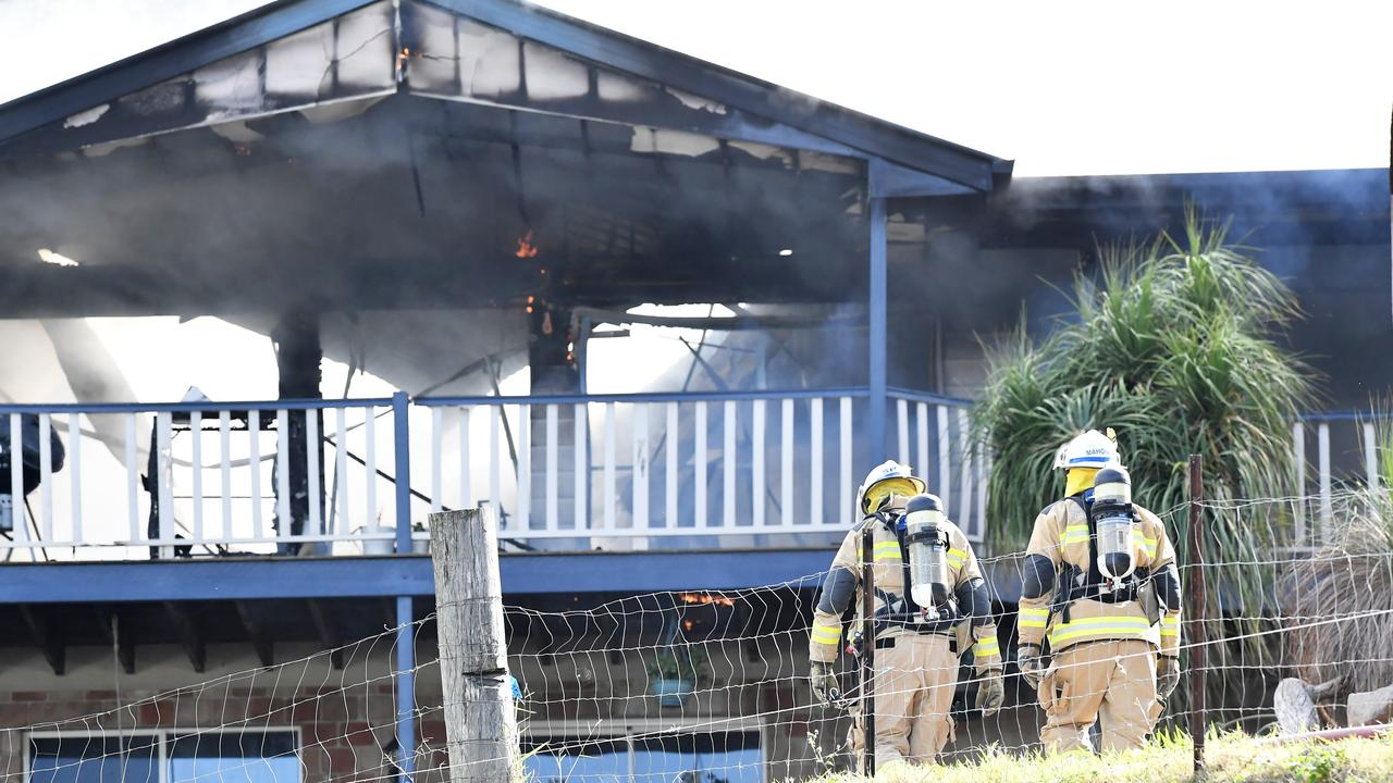 Cindy Rogers and Matthew Tolley's Bli Bli home was gutted by fire on Saturday. Photo: Patrick Woods