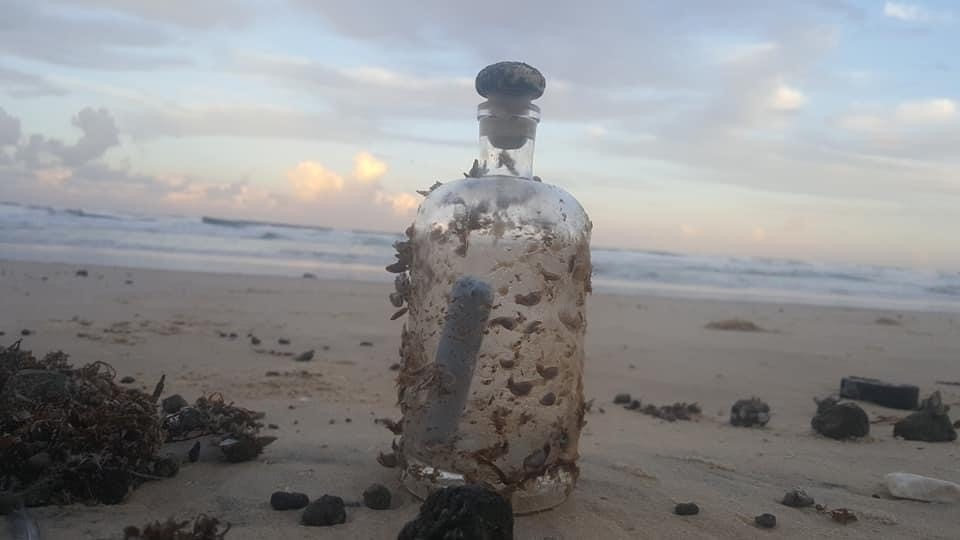 The barnacle-covered bottle that washed up on a Fraser Island beach this week.