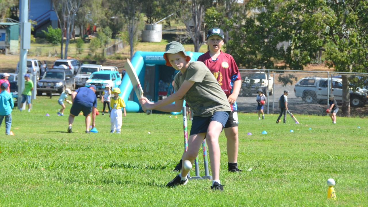 CLUB OF THE YEAR: Bailey McClurkin puts some runs on the board at the Monto Junior Cricket Come and Try Day in 2019. Picture: Sam Turner