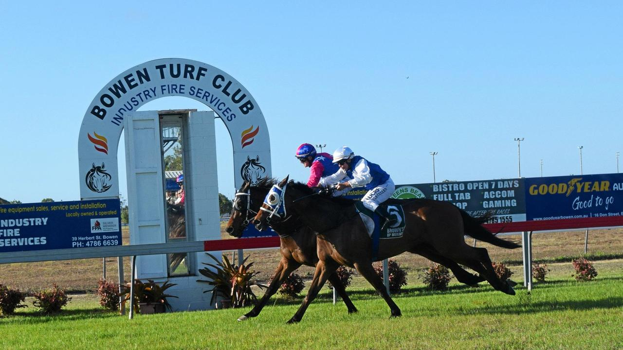 Martial Art, ridden by Danny Edmonds, narrowly defeats Good Catch, with jockey Peter Cullen on-board, in the 2019 Bowen Cup. Picture: Monique Preston