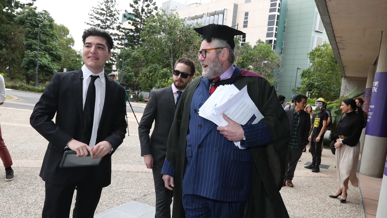 UQ student Drew Pavlou with barrister Tony Morris QC at his disciplinary hearing. Picture: Annette Dew