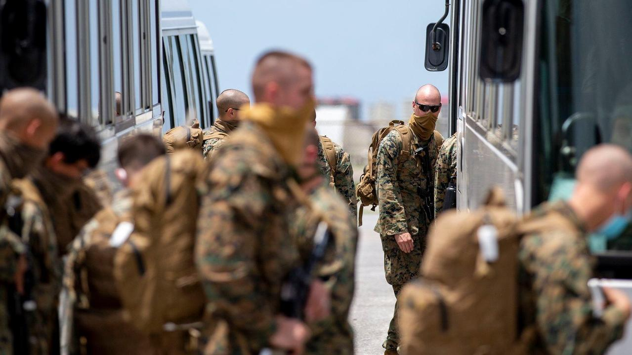 The Darwin-bound US Marines arrive at Kadena Air Base in Japan. Picture: Harrison Rakhshani