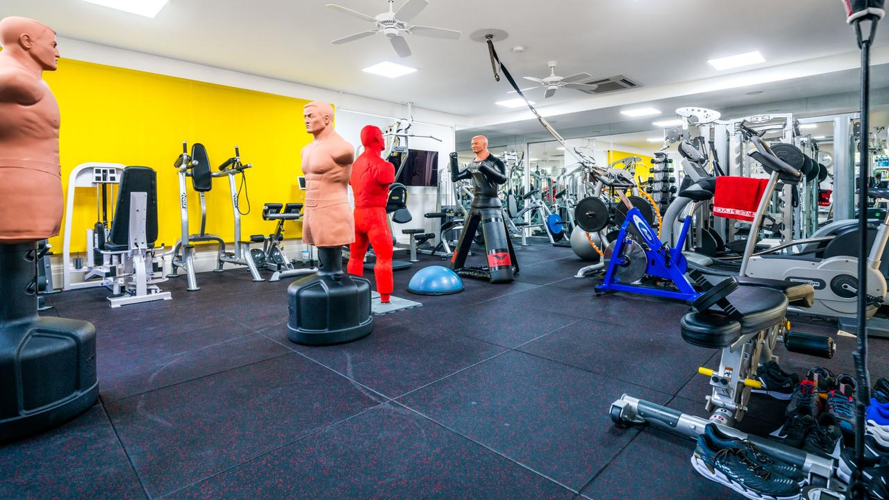 The commercial quality gym is as big as a two-bedroom apartment.