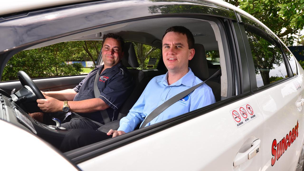 Suncoast Cabs general manager Eli ten Dam, right, back in 2016. Photo: John McCutcheon / Sunshine Coast Daily