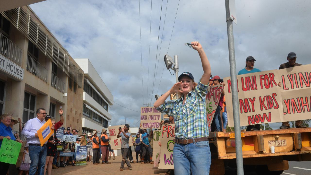 Protester Judy Plath is vocal during a farmers' rally when a hearing into the Commission of Inquiry into Paradise Dam had been held. Picture: Mikayla Haupt.