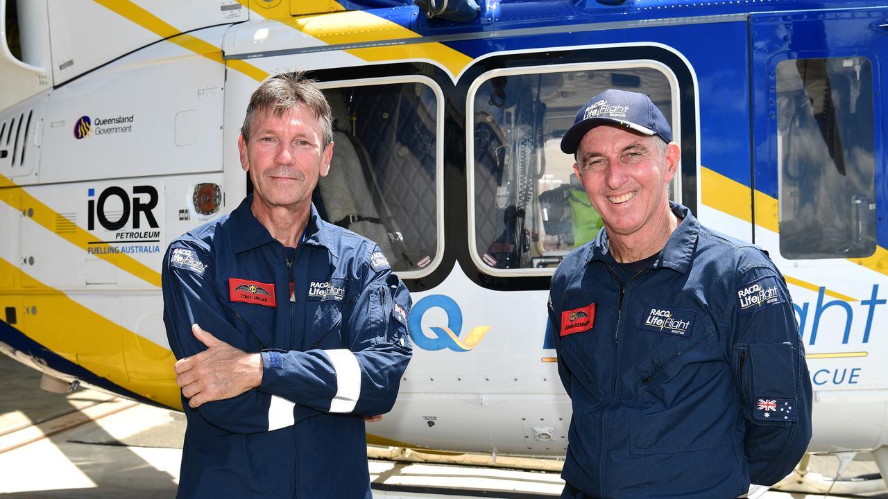 LifeFlight pilot Tony Miller and aircrewman John Kennedy.