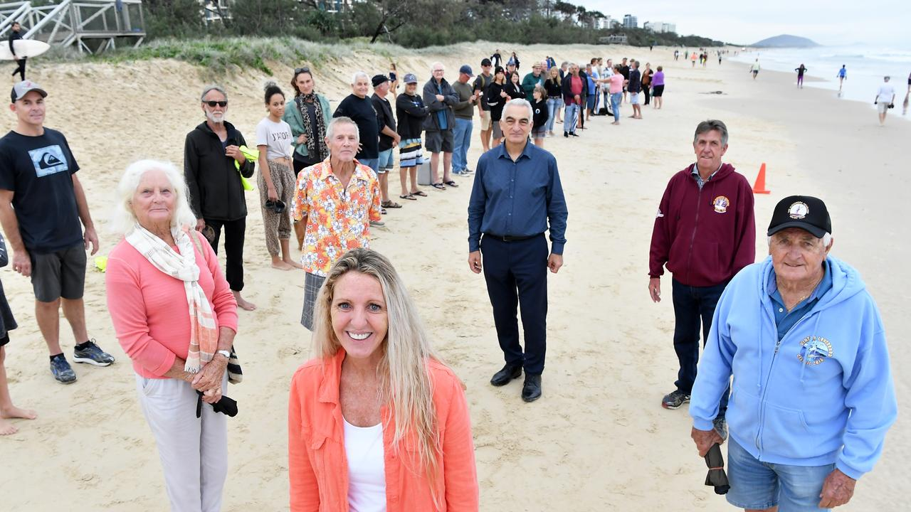 Sunshine Coast community members Rachael Bermingham (front) and (from left) Nola Coulter, Barry Coulter, Cr Joe Natoli, Kevin Annetts and Hayden Kenny protest the Mooloolaba to Maroochydore cycleway. Photo Patrick Woods / Sunshine Coast Daily.
