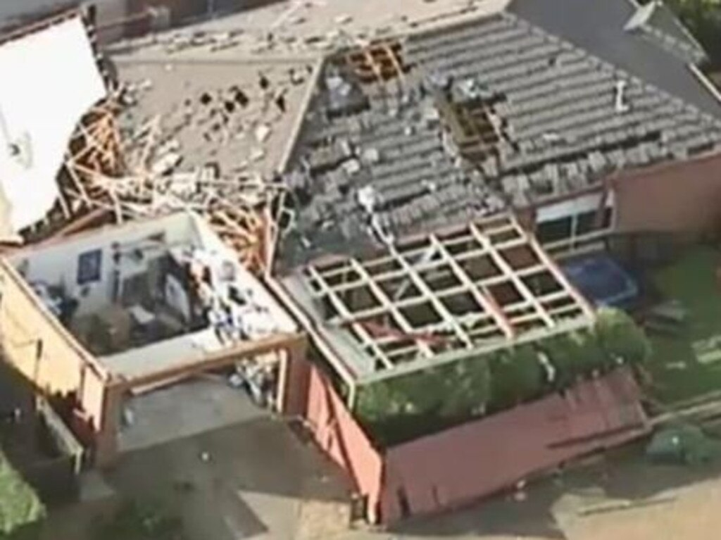Aerial footage of damage at Waurn Ponds. Picture: Channel 9