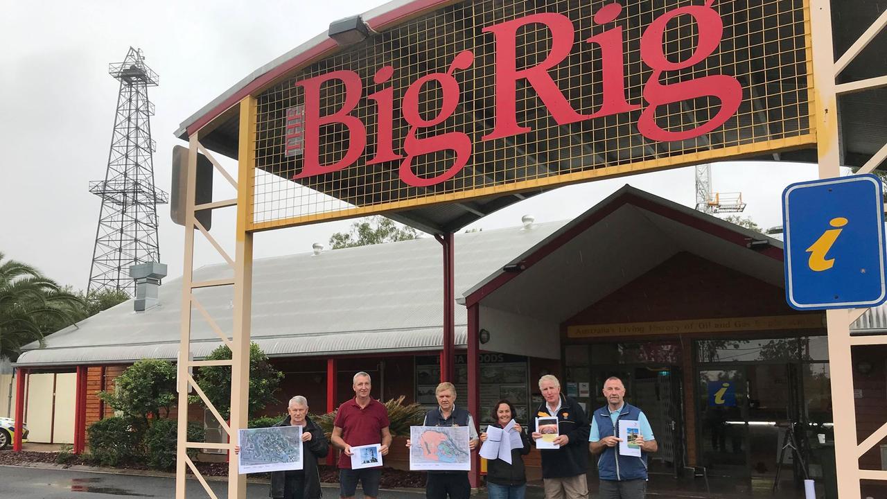 FUNDING: Ray Howson, Paul Schutt, Col Vaughan, Meryl Eddie, John Nolan, Charlie Eames at the Big Rig.