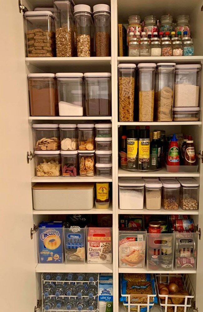 Her pantry contains food in boxes and clear storage containers. Picture: Leanne Marie