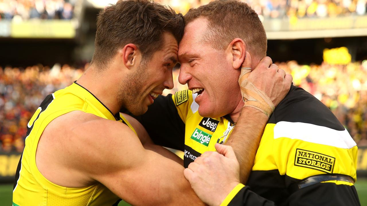 Assistant coach Justin Leppitsch had a strong bond with Alex Rance.