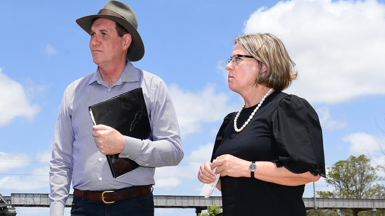 Resources Minister Anthony Lynham and Sunwater's chairwoman Leith Boully during an announcement of Paradise Dam last year. Picture: Mike Knott.