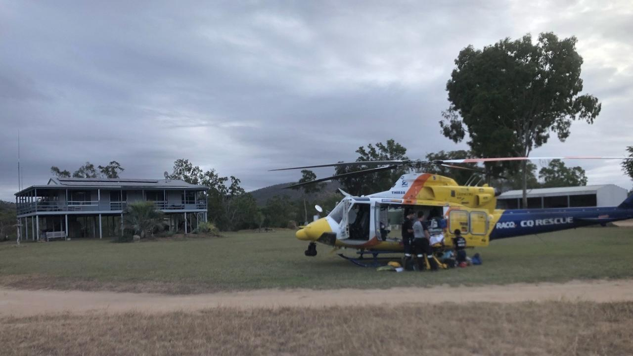 RACQ CQ Rescue has flown a seriously injured 50-year-old man to Townsville hospital on Wednesday evening, May 20, after he was crushed by a horse on a property near Collinsville.