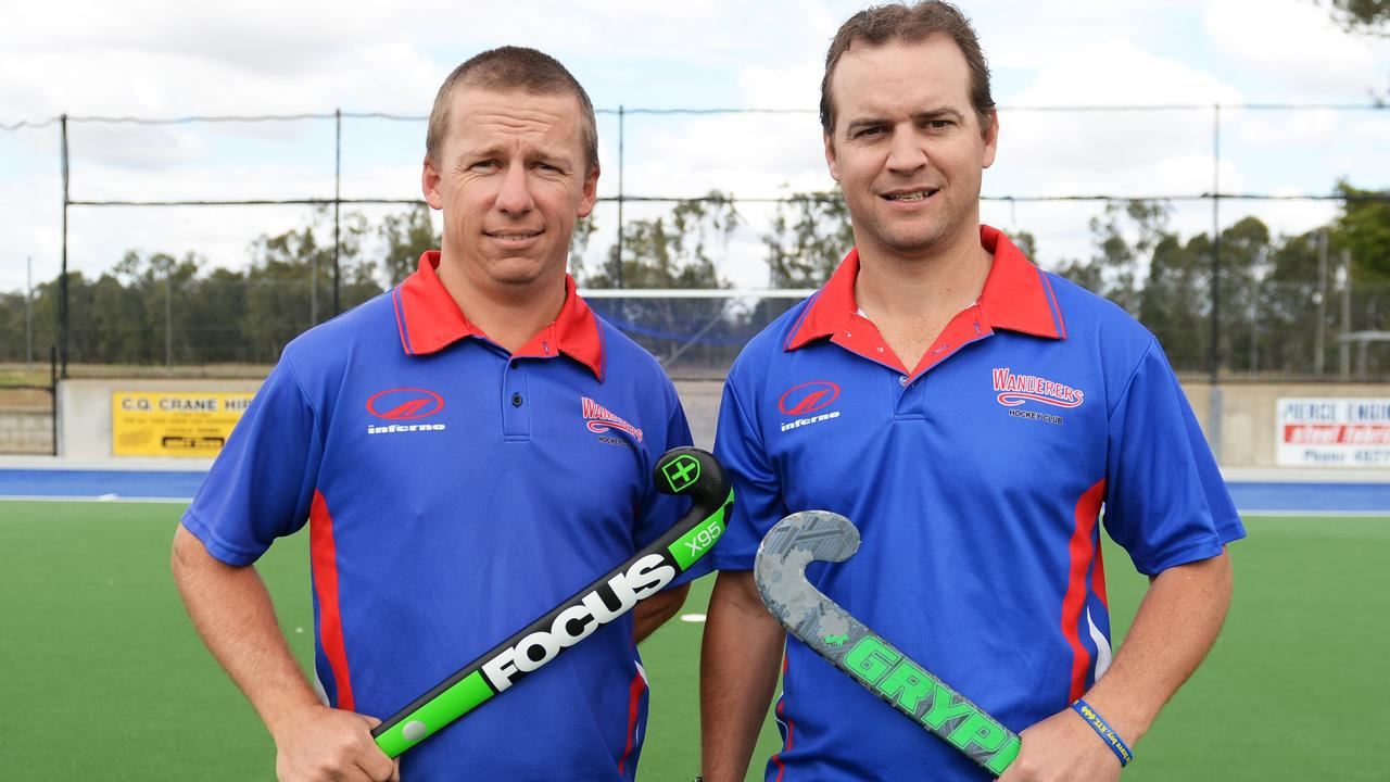 Aaron Harmsworth (left) and Andrew Landsberg were the only two players who featured in all 14 of Wanderers 14 straight premiership wins in the Rockhampton A-grade competition.