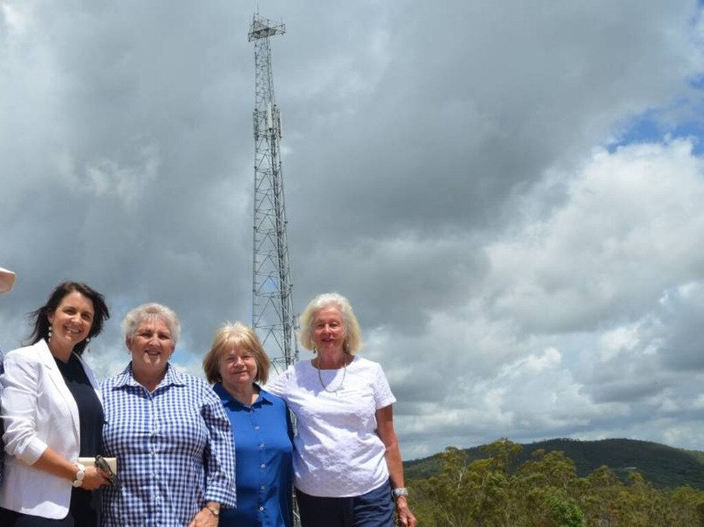 COMMUNICATIONS UPGRADE: Telstra area general manager Rachel Cliffe, Member for Capricornia, Michelle Landry, and Mount Chalmers locals Anne Nicholson and Marie Hawse celebrate the town receiving a tower in 2017.