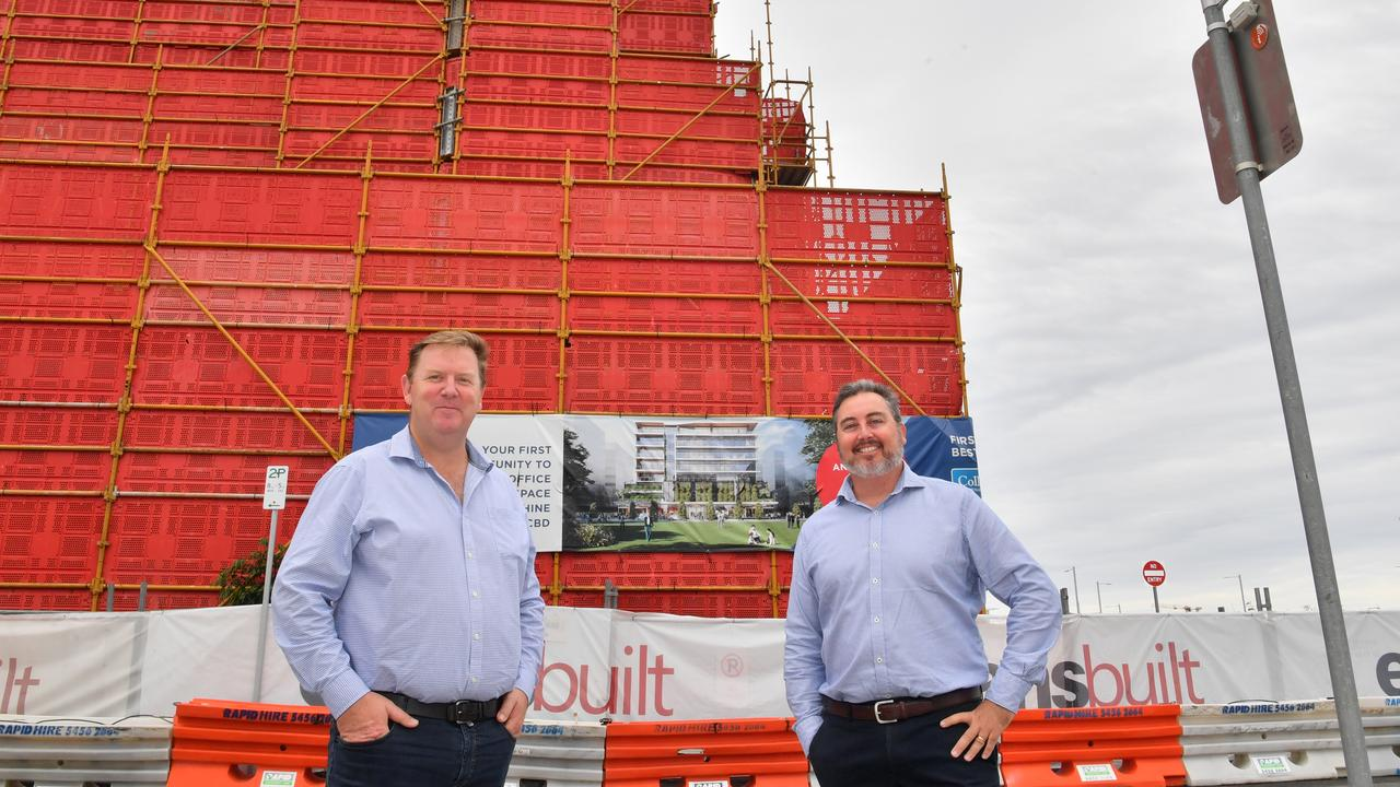 CONSTRUCTION UPDATE: Dirk Long (Evans Long) and Matthew Gould (JLL) at Foundation Place construction site in Maroochydore's CBD. Photo: John McCutcheon / Sunshine Coast Daily