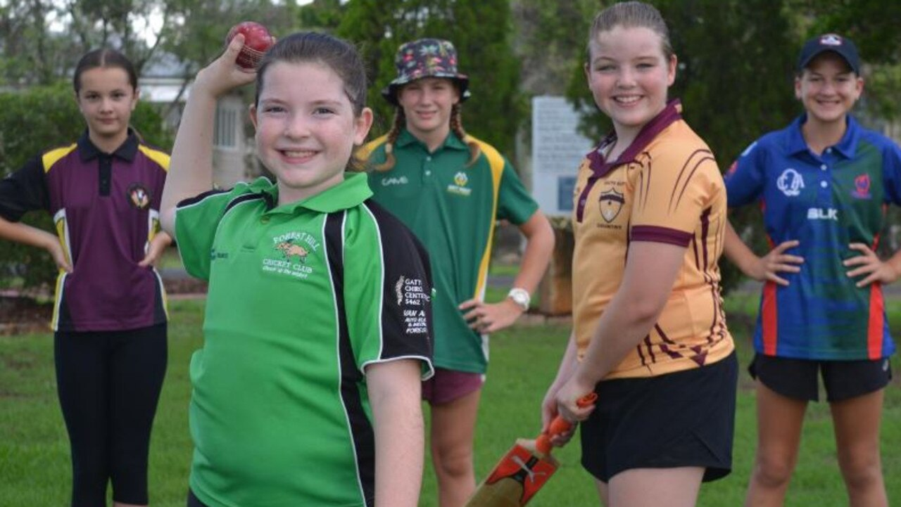 KEEN: Plenty of girls, including Marley Stokes (second from right), are interested in joining the girls only cricket team when it launches. Photo: Ebony Graveur