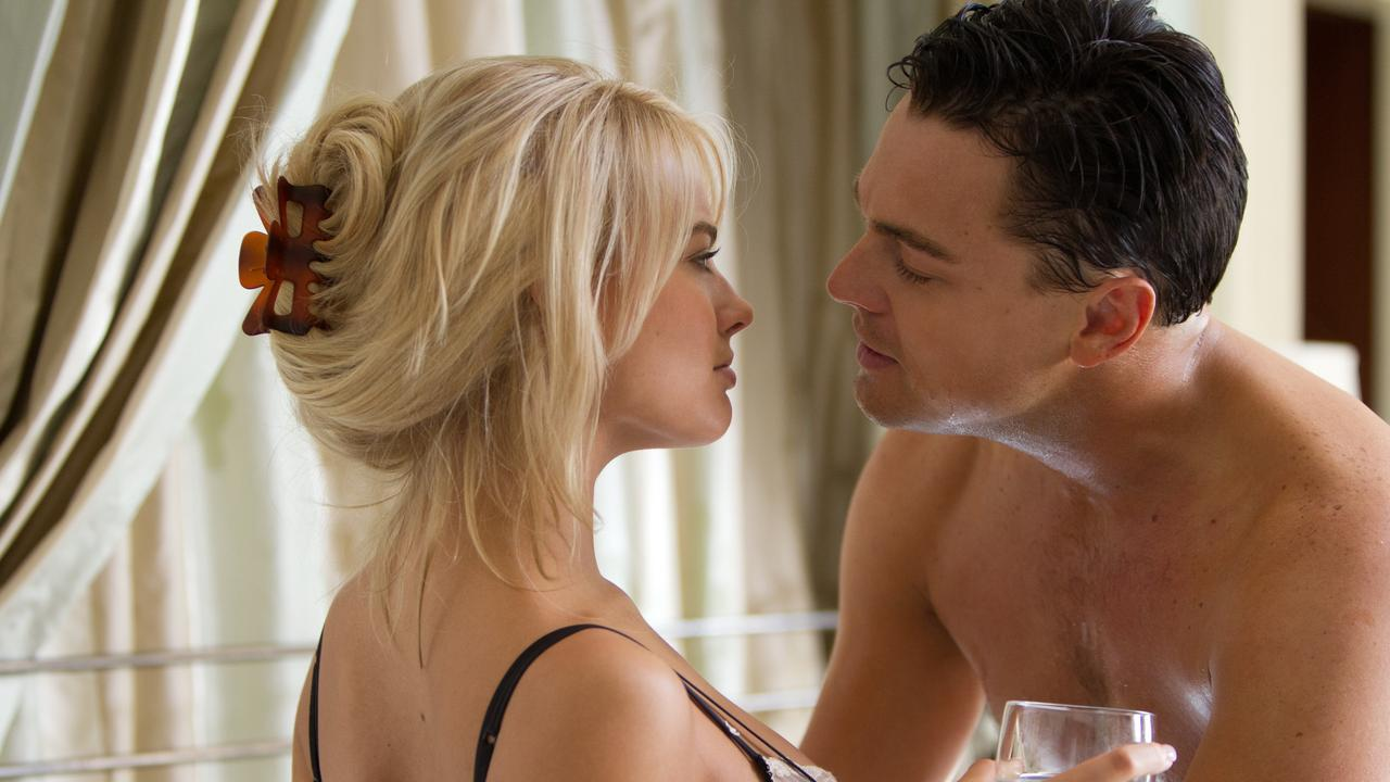 Leonardo DiCaprio and Margot Robbie in the Wolf of Wall Street.