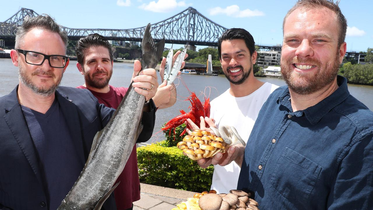 Delicious Produce Award judges, chefs Spencer Patrick with Cobia, Adam Wolfers with Gar fish, Louis Tikaram with Scarlet Prawns, and Jake Nicolson with Little Acre mushrooms, Brisbane. Photographer: Liam Kidston