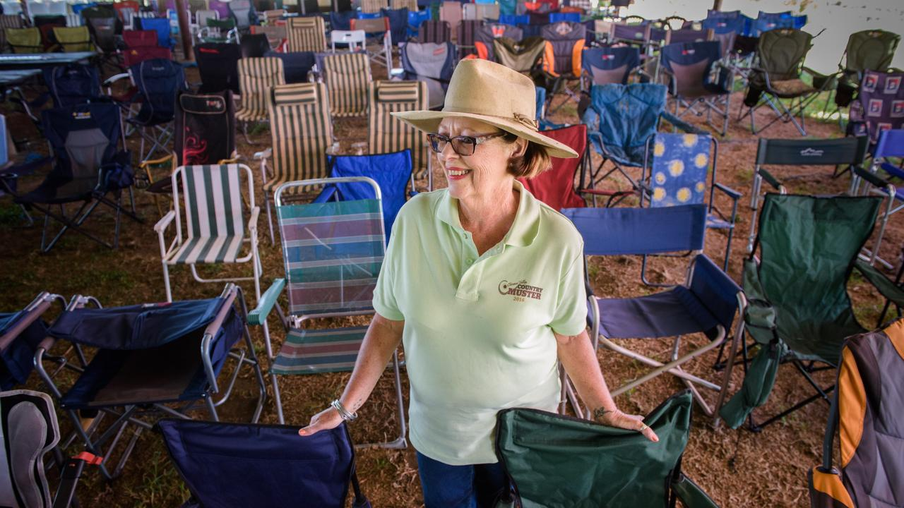 Clarence Valley Country Music Muster organiser Wendy Gordon prepares for the sea of chairs to be filled for the day's walk up performances.