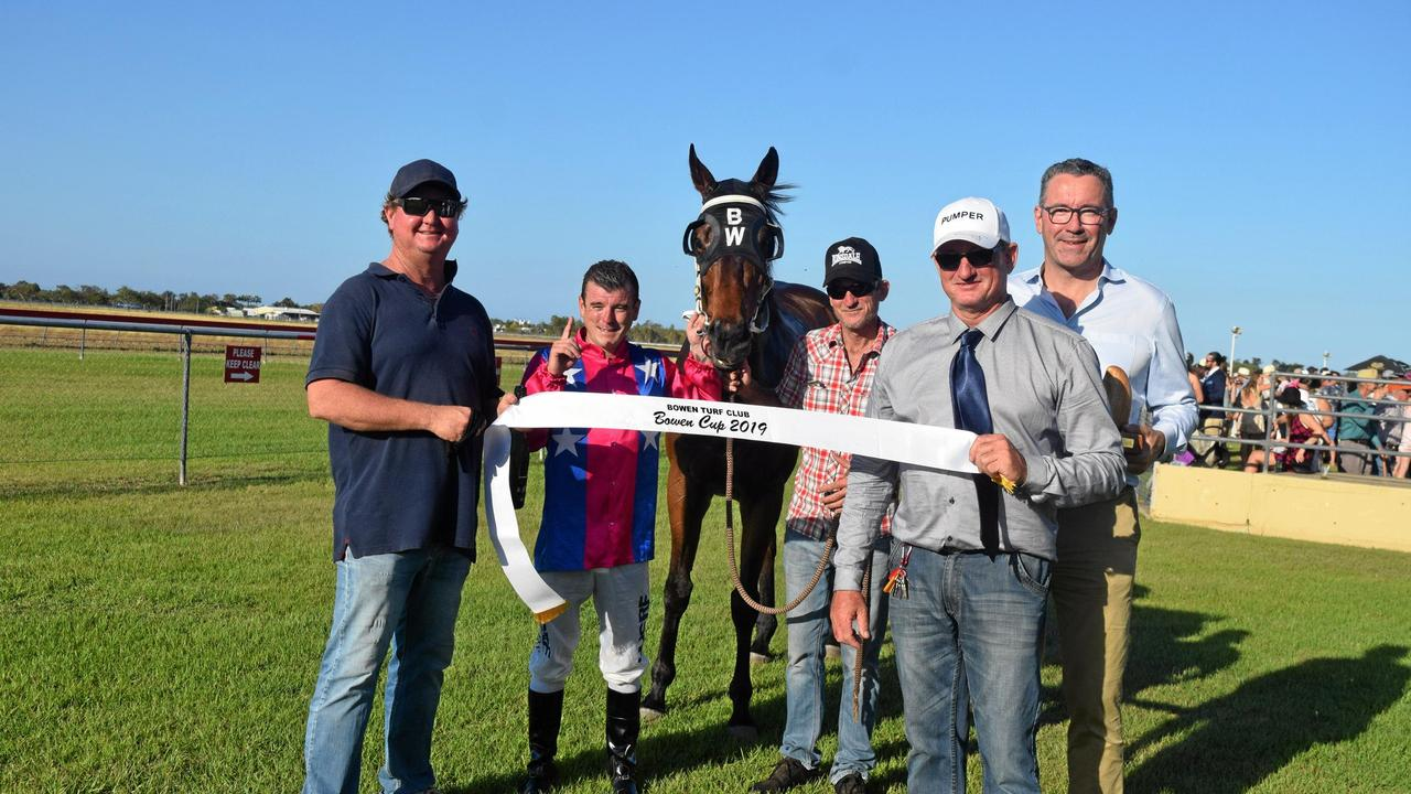 Bowen Cup 2019 winner Martial Art with (from left) trainer Ben Williams, jockey Danny Edmonds, strapper Dave Gerhard, Bowen Turf Club president Stephen Daley and Racing Queensland chief executive officer Brendan Parnell. Picture: Monique Preston