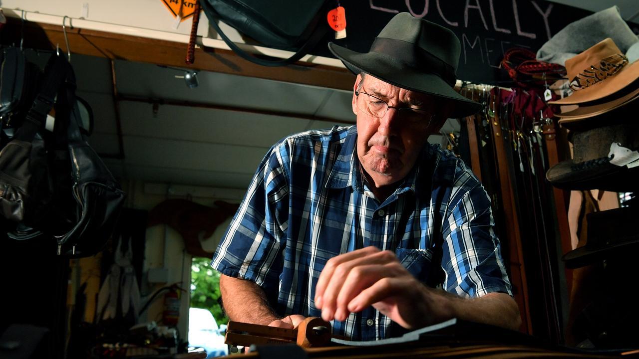 HONING HIS CRAFT: Yandina resident Paul McCaul has been handcrafting leather goods for over 40 years. Photo: John McCutcheon.