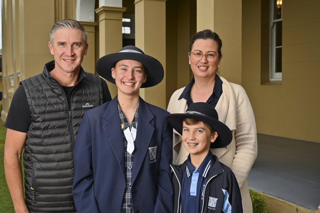 Image for sale: Glen and Kym Stewart with Corey, 9 and Tara, 14, at Ipswich Girls Grammar. Picture: Cordell Richardson