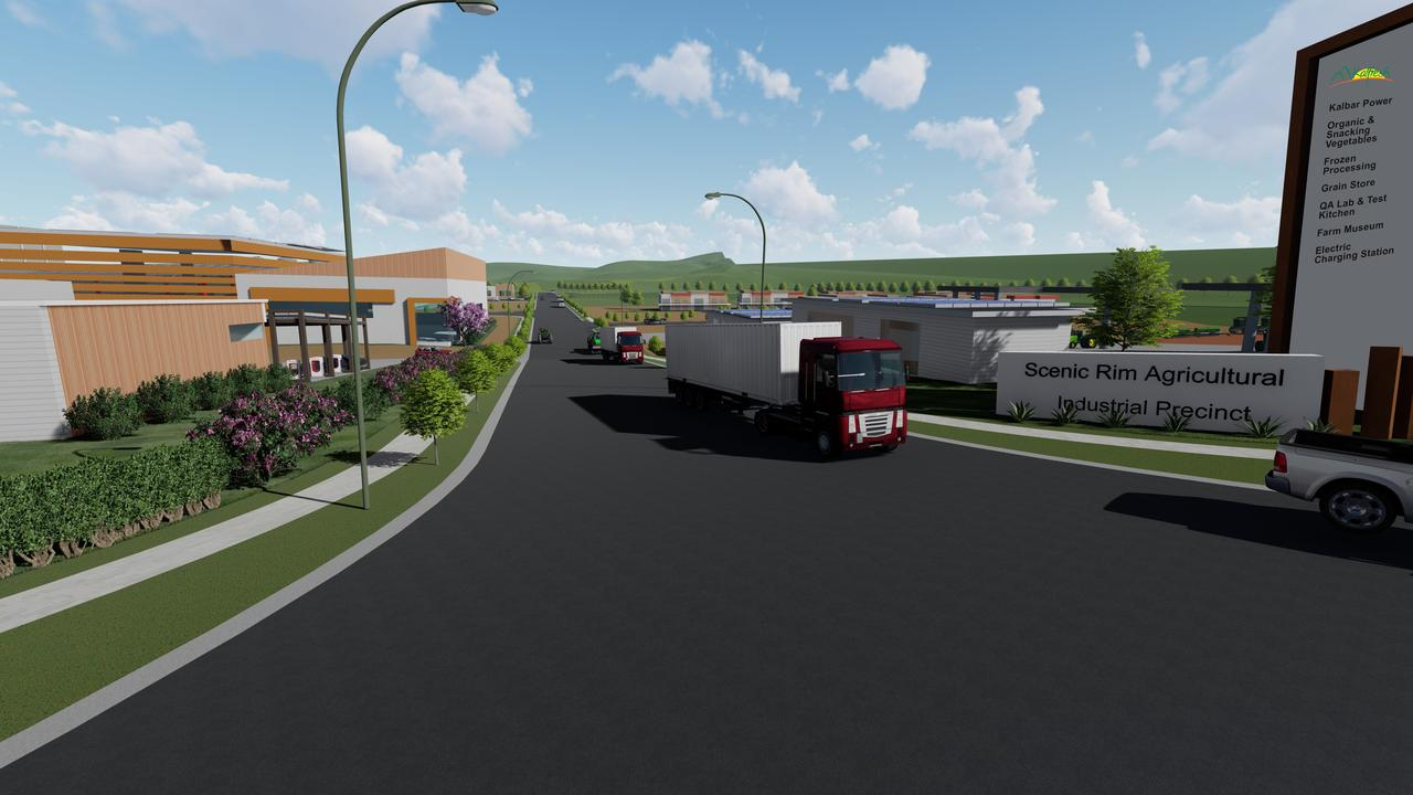 Artist render of the entry of the proposed Scenic Rim Agricultural Industrial Precinct.