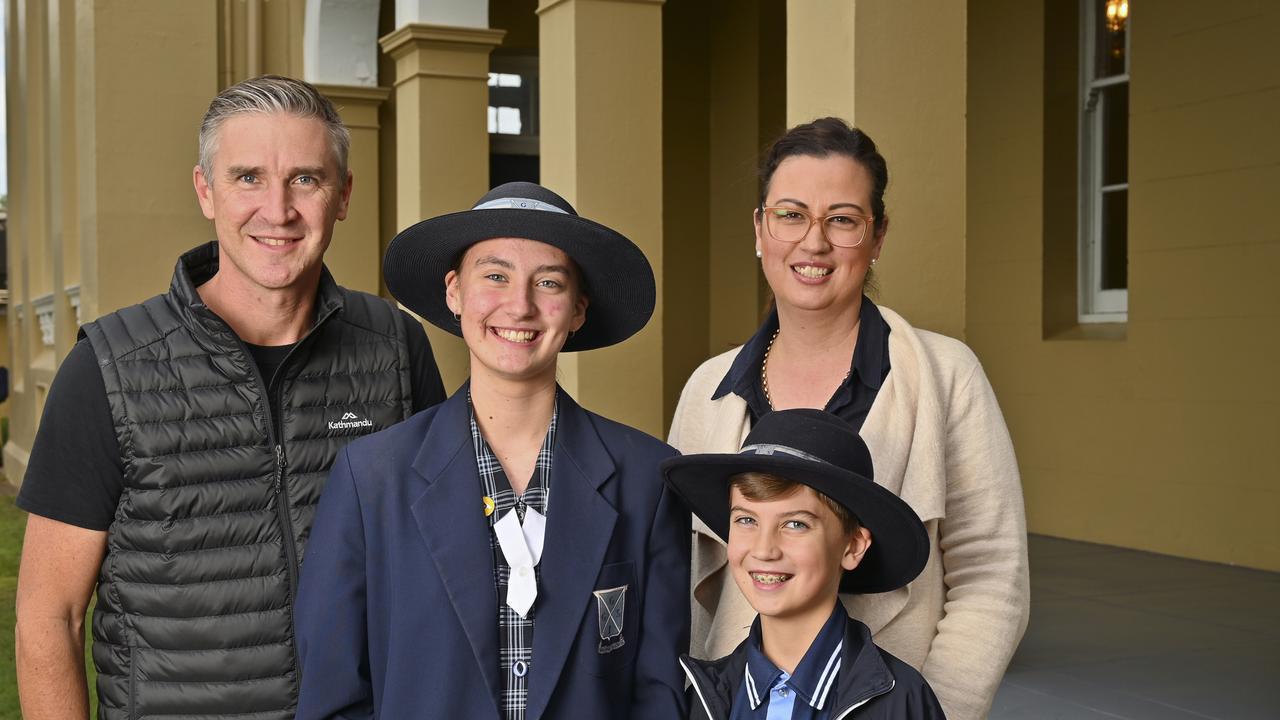 Glen and Kym Stewart with Corey, 9 and Tara, 14, at Ipswich Girls Grammar. Picture: Cordell Richardson