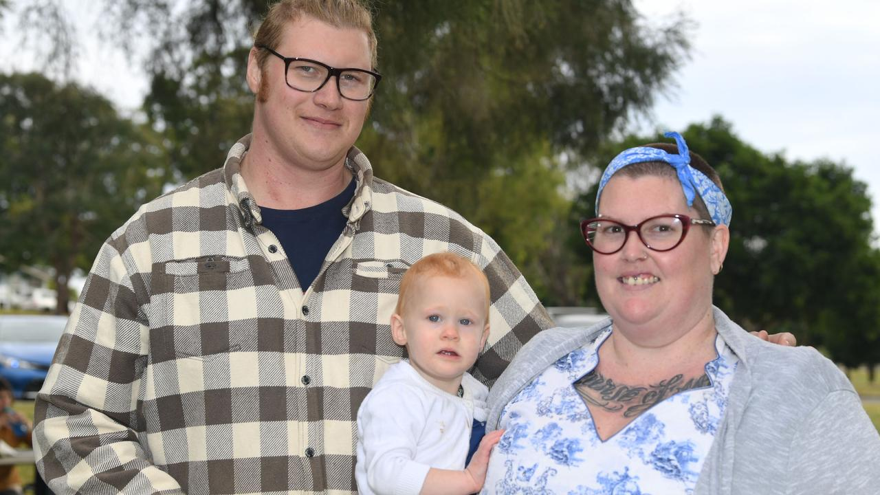 Having a stroll around Lake Alford are Mitchell and Temena Balfour with little Jasmine - Picture: Shane Zahner