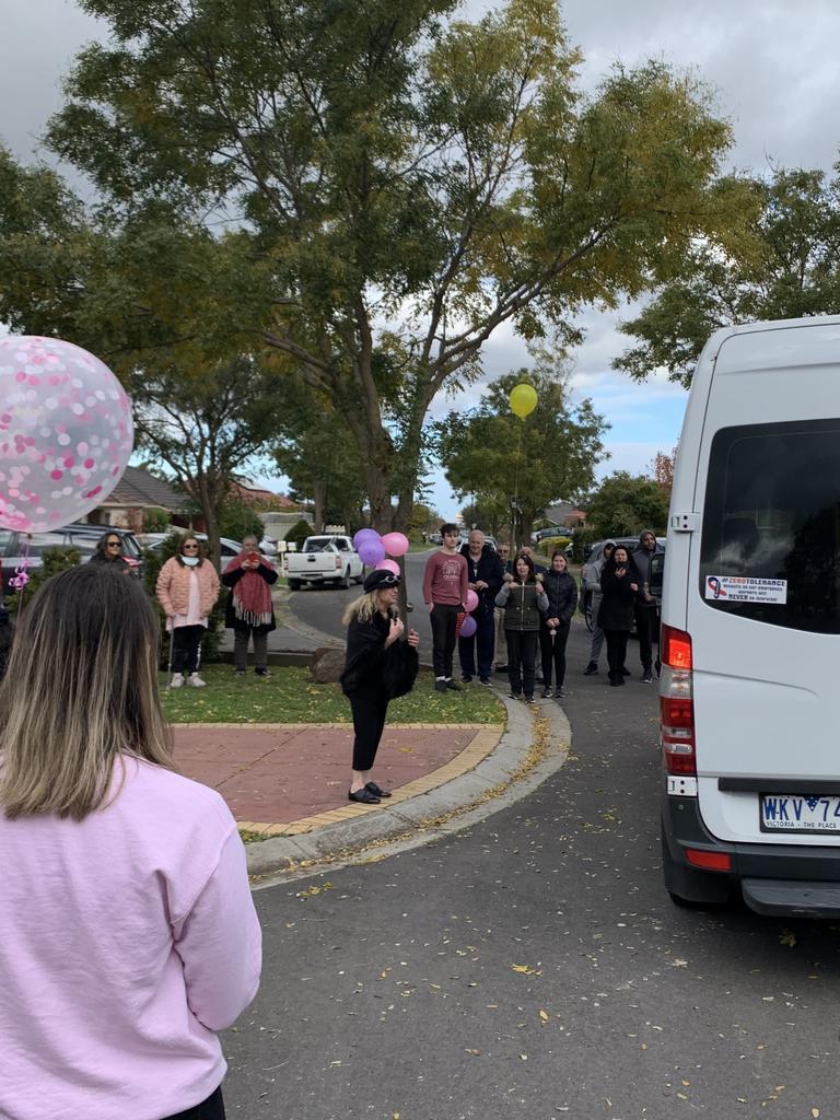 Friends and family await Stephanie's arrival.