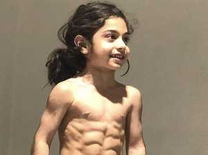 Boy, 6, shows off crazy six-pack