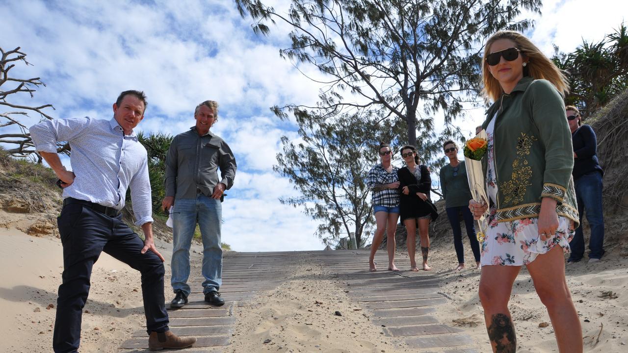 Cr Adam Belot, Cr Pat Eastwood, Clair Fitzpatrick discuss a safer alternative to the current Bangalee access to Farnborough Beach.