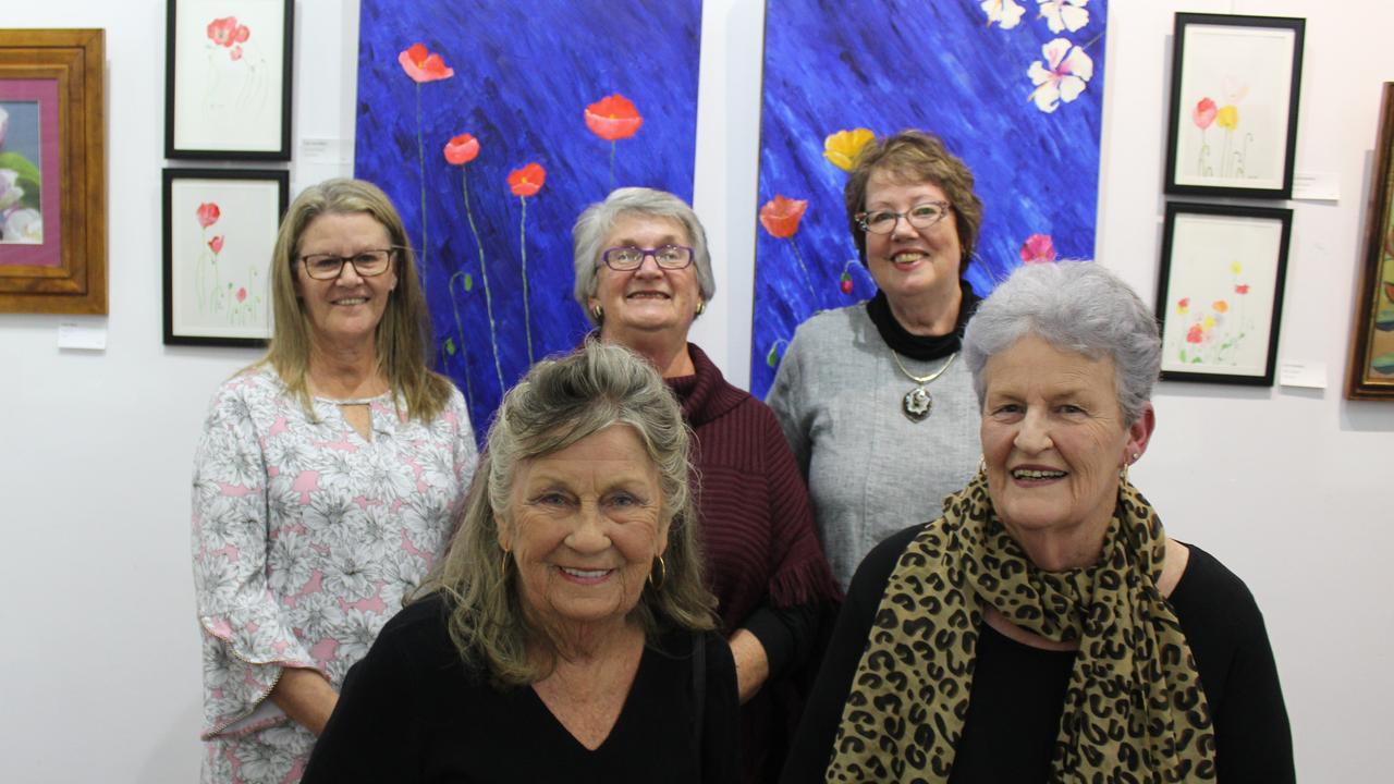 Lois Vreeken, Roslyn Smith and Shan Wood (back) with Lois Hamilton and Suzanne Flintham (front) at the Kingaroy Art Gallery before social distancing was in place. Photo: Laura Blackmore