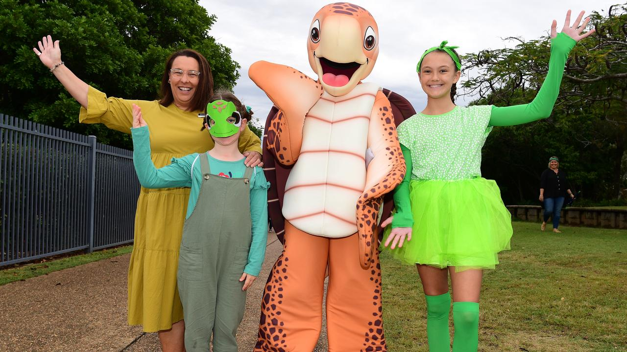 Head of primary Tonia Lassman, Emily McConnel, Sandy the Turtle and eco champion Atlanta Caruana at St Lukes Anglican School for World Turtle Day celebrations. Picture: Mike Knott.